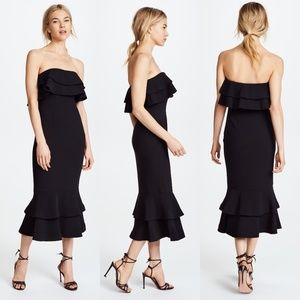 Cinq a sept strapless flounce ruffle midi Dress